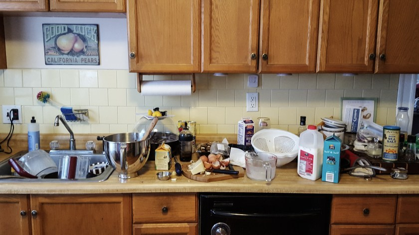 Kitchen mess during cooking
