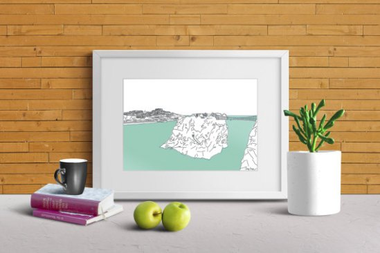 cornish prints newquay island line illustration cornwall