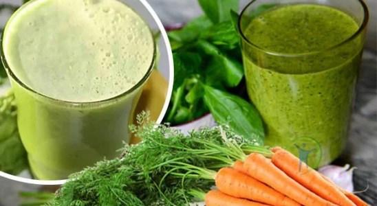 Batido de hojas de zanahoria espinaca y espirulina