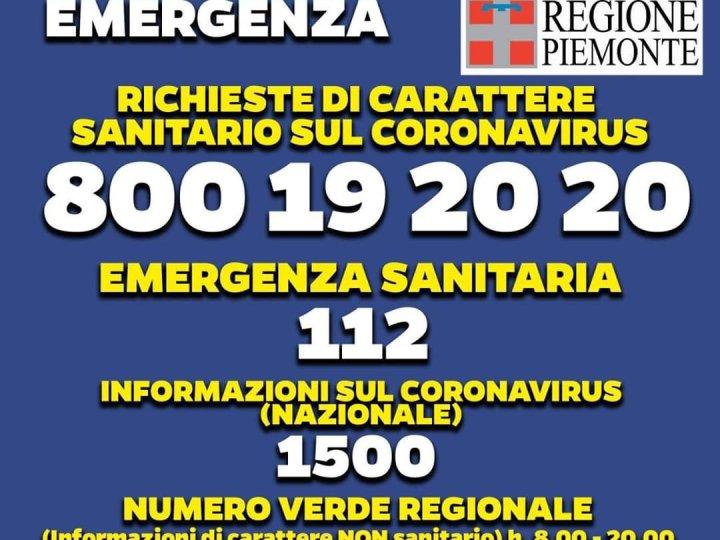 Virus covid-19: Ecco in nuovi numeri telefonici regionali di carattere sanitario
