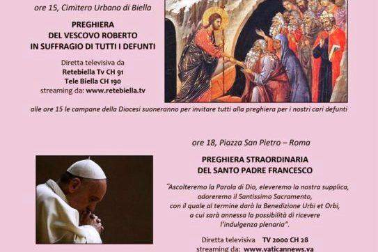 In diretta tv e streaming alle ore 15 il Vescovo prega nel cimitero di Biella, alle ore 18 il Papa in Piazza san Pietro in Vaticano ed alle ore 21 il rosario da Oropa