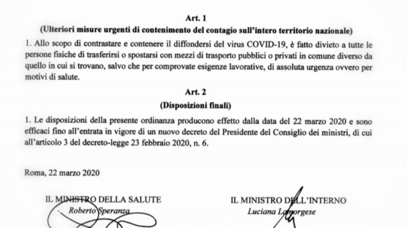 Virus covid-19: E' vietato uscire dal proprio comune di residenza o luogo dove si abita
