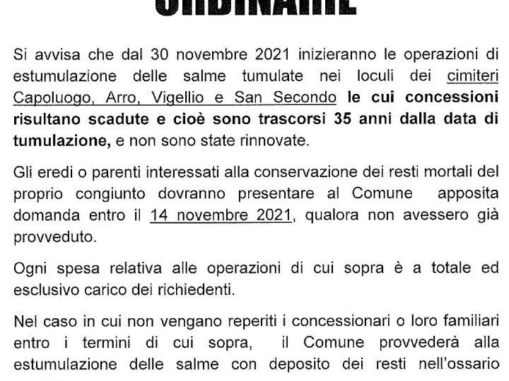 Dal 30 novembre iniziano le estumulazioni per le concessioni dei loculi scadute e non rinnovate