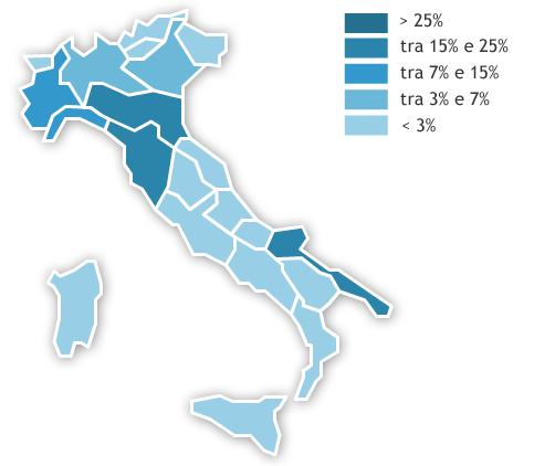 Mappa dei consumi regionali Anno 2017