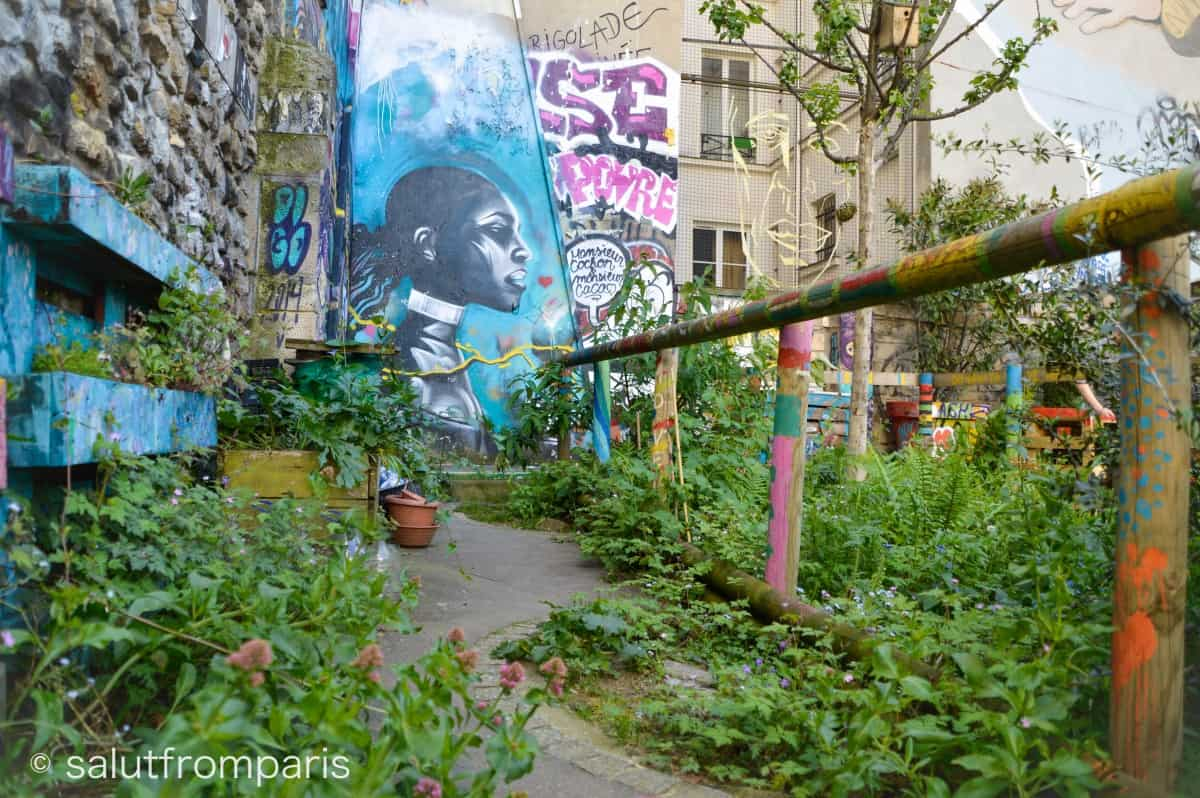 Urban Gardening and Urban Art in one place at Place Frehel in Belleville - a center of Urban Culture of Paris - A cool place if you are searching for unusual things to do in Paris