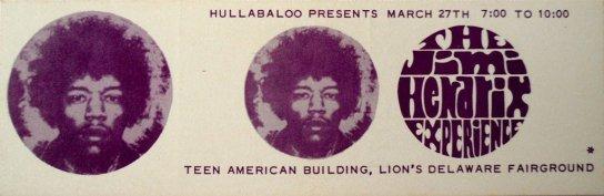 25a Muncie Biglietto Jimi Hendrix & Soft machine Hullabaloo