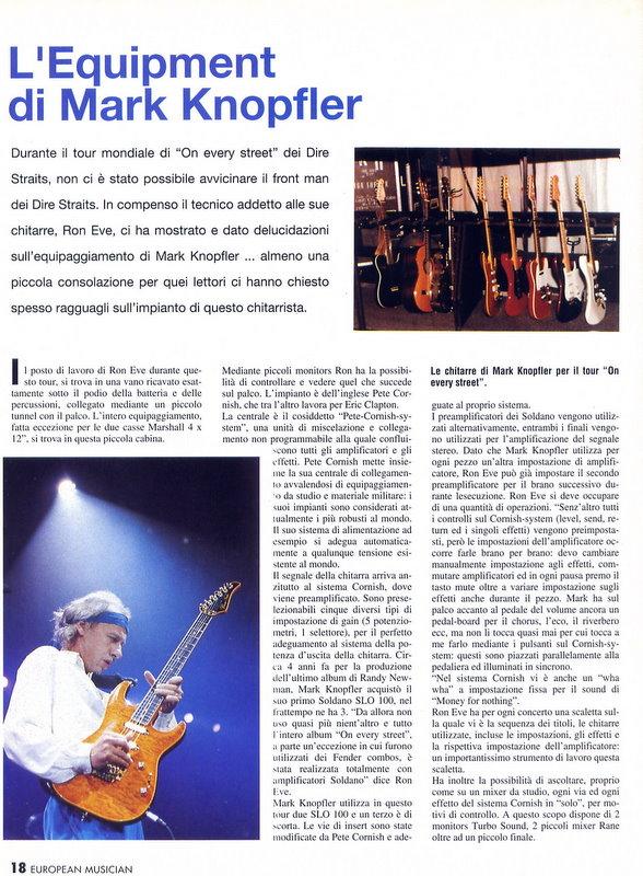 European Music, 1992 dire straits equipaggiamento mark knopfler