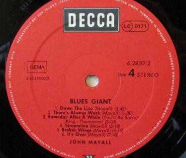 John Mayall Blues Giant Etichetta Lato 4