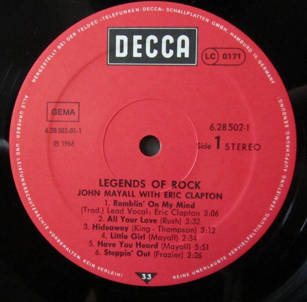 John Mayall Legends of Rock Etichetta Lato 1