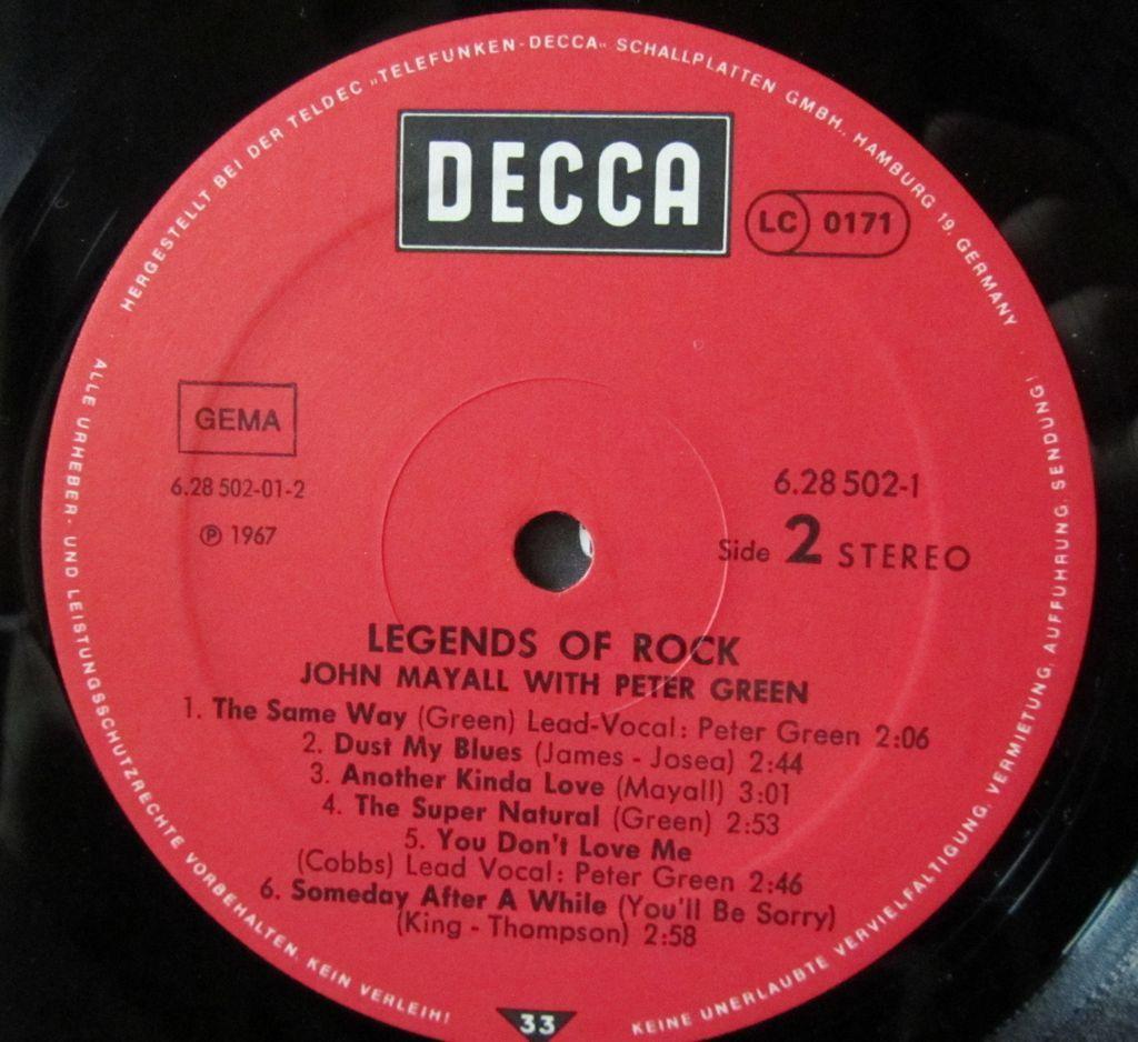 John Mayall Legends of Rock Etichetta Lato 2