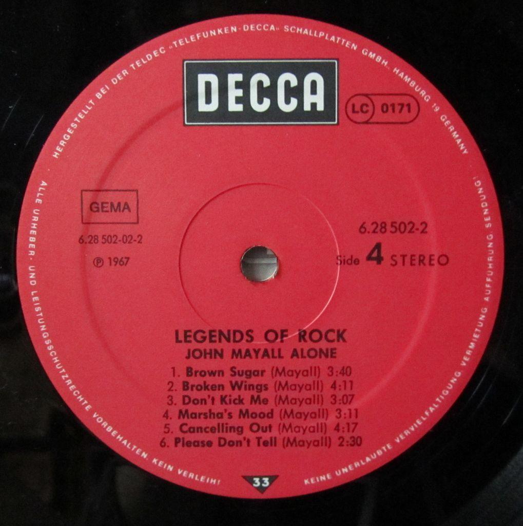 John Mayall Legends of Rock Etichetta Lato 4