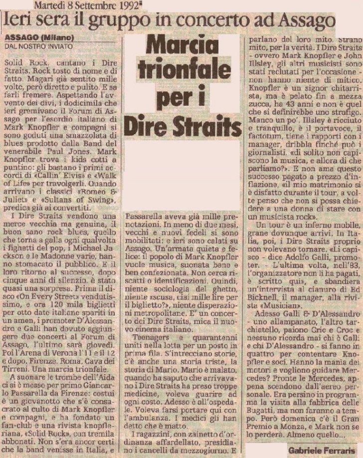 Dire Straits in Italia Forum di Assago 1992