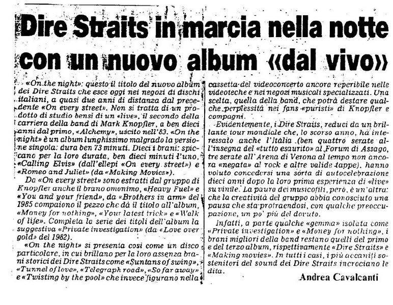 Dire Straits Tour 1992 On The Night