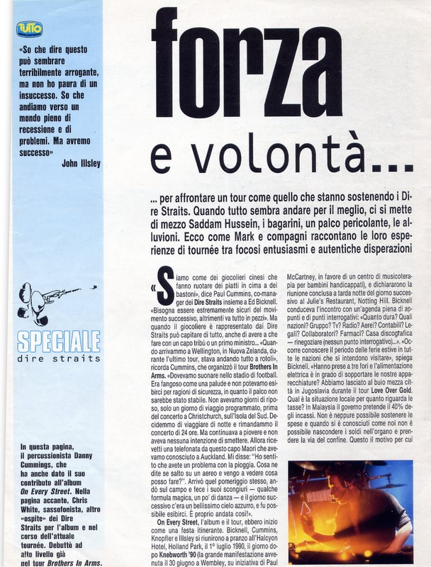 Live in Italy, dire straits tour 1992