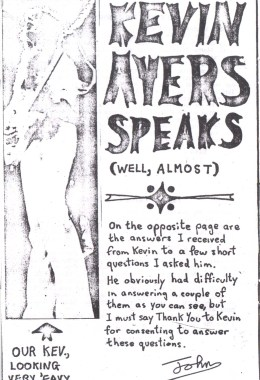 Syd Barrett Fanzine March 1973 Kevin Ayers interview