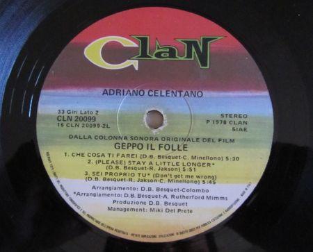 Geppo il Folle, Adriano Celentano, Etichetta