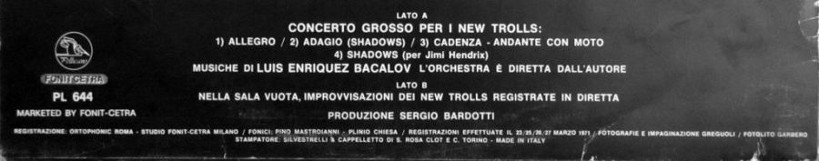 LP, 1971, Luis Bacalov, Tracklist, Progressive con orchestra