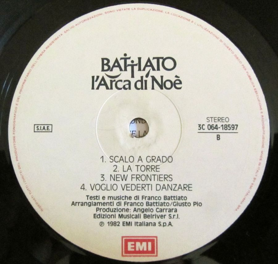 Battiato L'arca di Noè b side