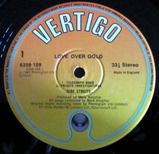 A Side, Label, Cover album Dire Straits