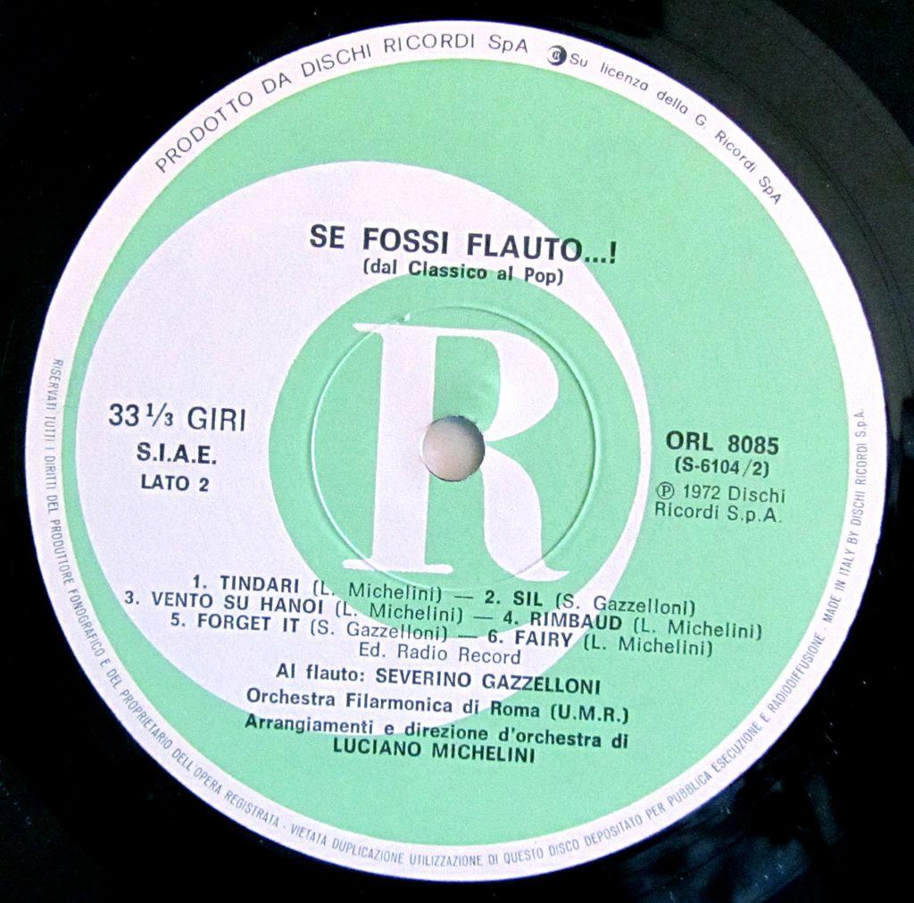 Gazzelloni - Se Fosse Flauto Album Etichetta Lato B