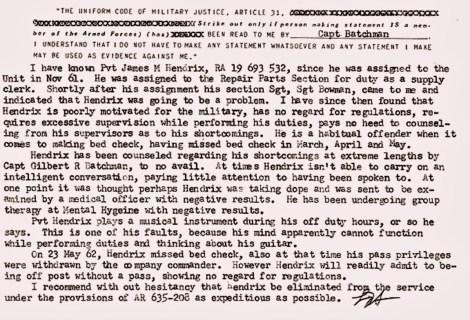 Hendrix Military Report