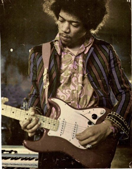 Hendrix on guitar