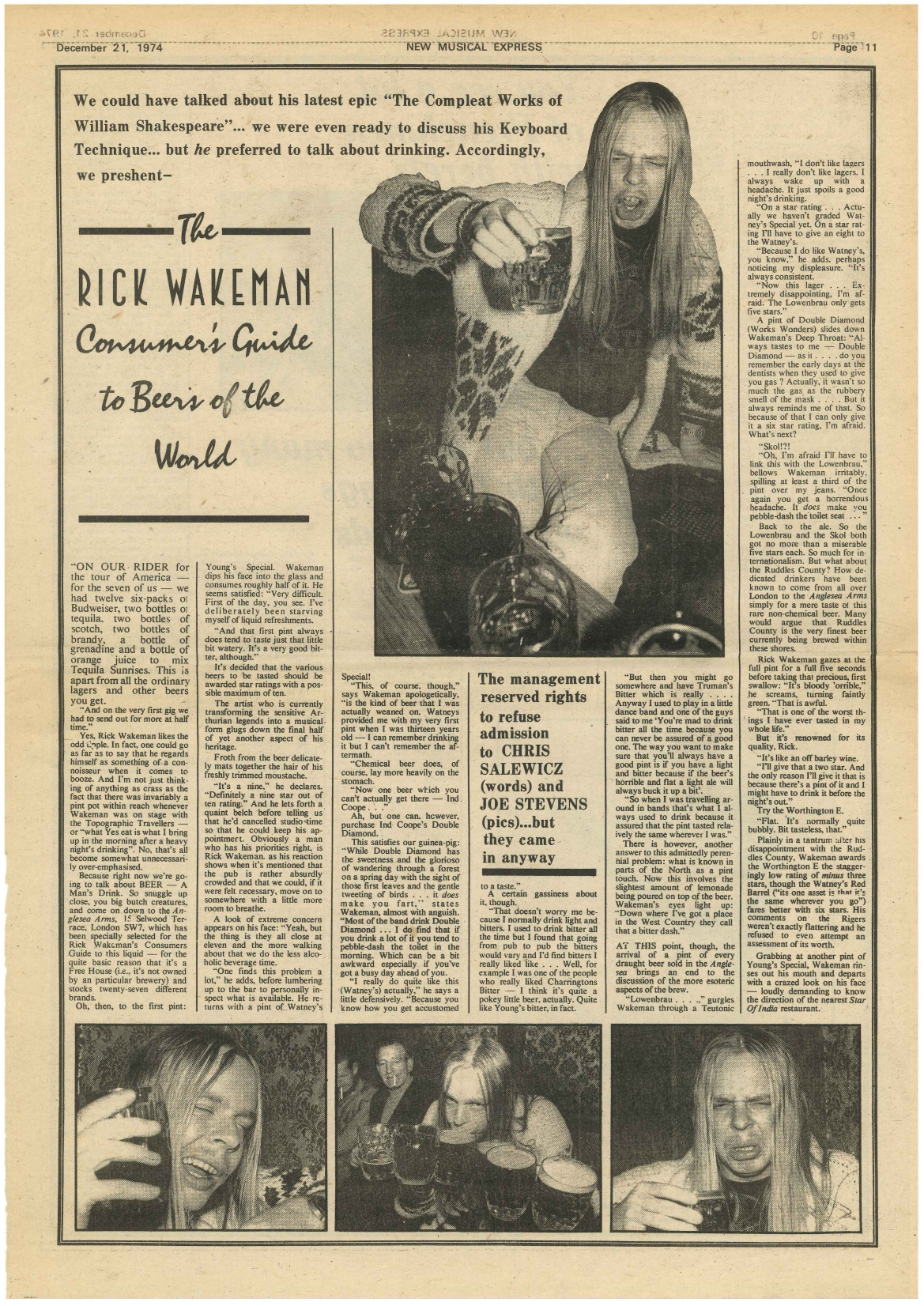 Newspaper Clip, New Musical Express 1974, Yes, Rick Wakeman