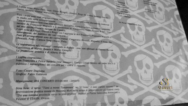 Litfiba LP Pirata inside interno copertina ghigo renzulli piero pelù