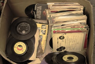 old box with records