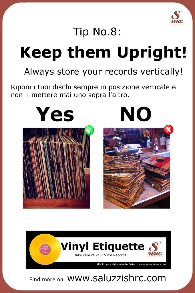 Vinyl Etiquette Manutenzione Vinile Keep Them Upright conservare dischi in vinile