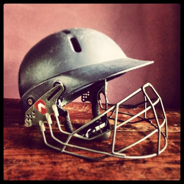 Salvaged-cricket-helmet-before-it-was-upcycled