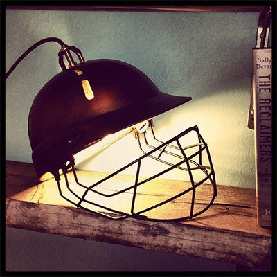 Upcycled cricket helmet lamp