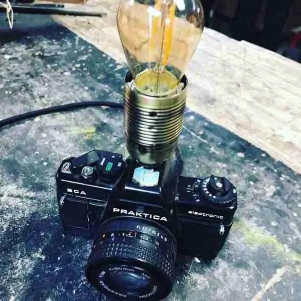 upcycling a camera into a lamp