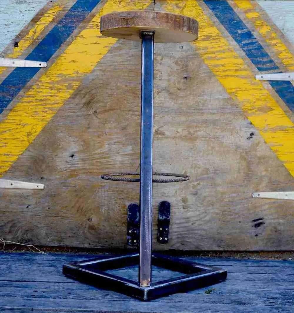Industrial chic steel base barstool