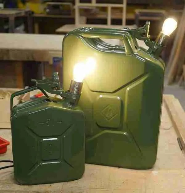 Upcycled jerry can lamp