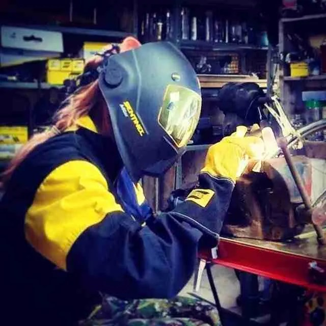Salvage Sister welding in her Esab kit