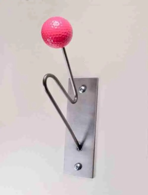 coat and hat hooks in bright colours pink