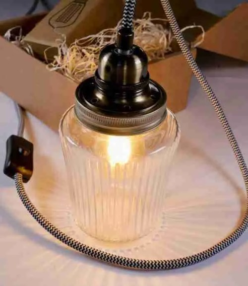 vintage Kilner jam jar lamp