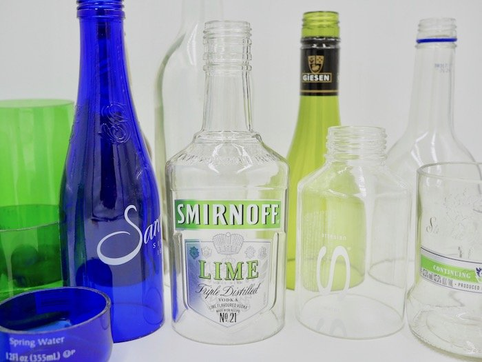 glass bottles cut ready for upcycling