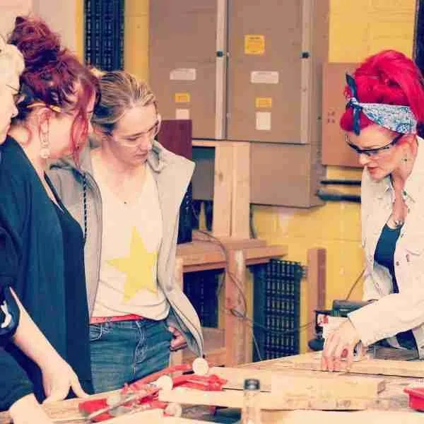 leading a woodworking class in brighton