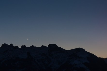 Venus and Mercury above the swiss mountains.
