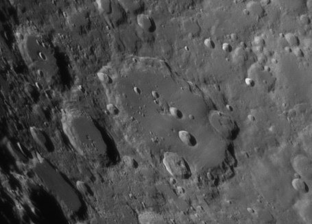 Clavius is the third largest crater on the visible side of the moon. It has a diamter of 225 km and is 3.5 km deep.