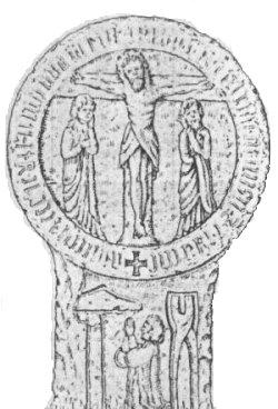 Kreuzstein in Salzhemmendorf.  Die Scheibe zeigt auf der Vorderseite Christus  am Kreuz mit Maria und Johannes. Auf dem Schaft  ist zwischen Hammer und Zange eine knieende  Büßergestalt mit erhobenen Händen dargestellt.