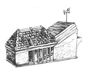 """Eine alte Salzsiedehütte (Kothen) Jede dieser Hütten aus der Anfangszeit des  Salzsiedens trug - wie bei Kirchen ein Zeichen,  wie hier das Einhorn. So oder ähnlich könnten  auch die ersten Kothen in """"Swalenhusen""""  ausgesehen haben"""