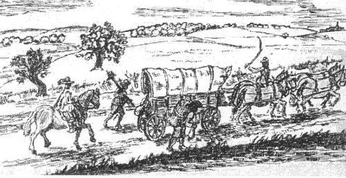 Salztransport mit bespannten Planwagen