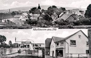 Alte Postkarte mit Schwimmbad
