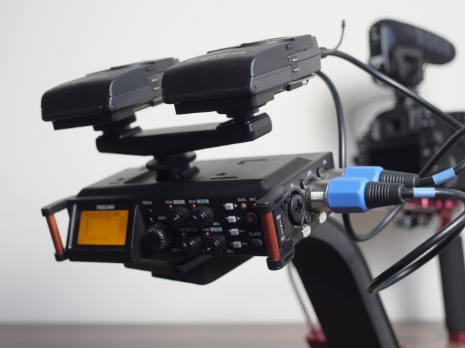 Tascam DR-70D on camera