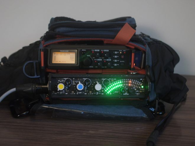 Tascam DR-70D in audio bag