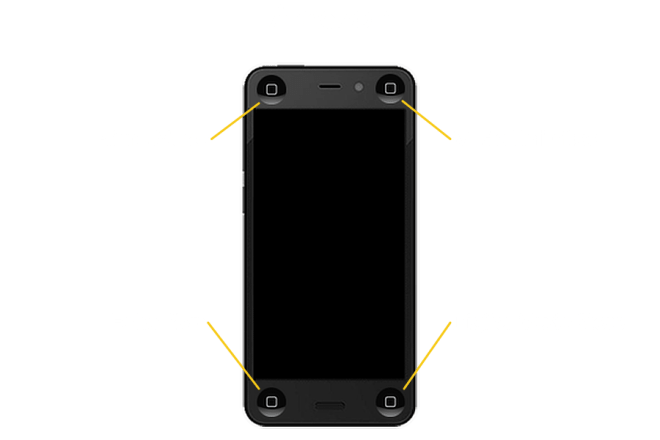 Amazon Fire Phone with four iPhone home buttons