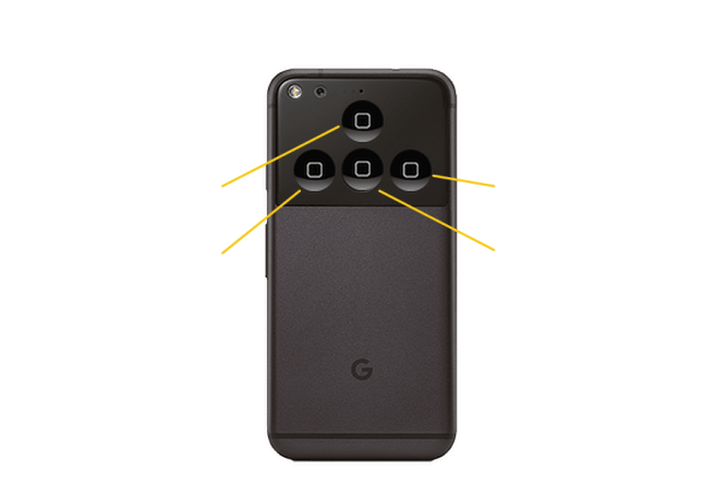 Google Pixel Phone with four iPhone home buttons